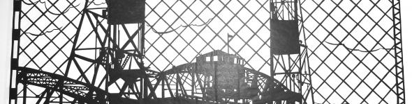 Hawthorne Bridge cut tissue paper illustration
