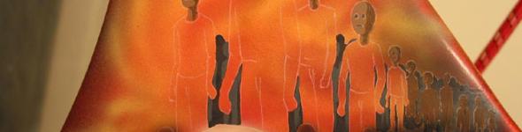 """Grim Reaper"" airbrush mural on lowrider bicycle"