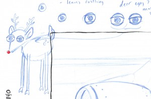 Initial sketch of deer for window display, HK3.